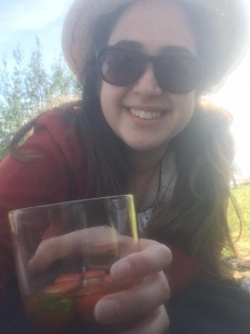 Drinking a Pimms at Victoria Arms after punting the Cherwell
