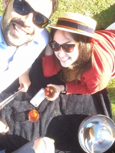 Drinking a Pimms with friends