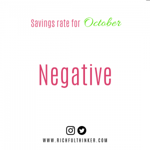 My Savings Rate. Negative, I saved nothing in October!